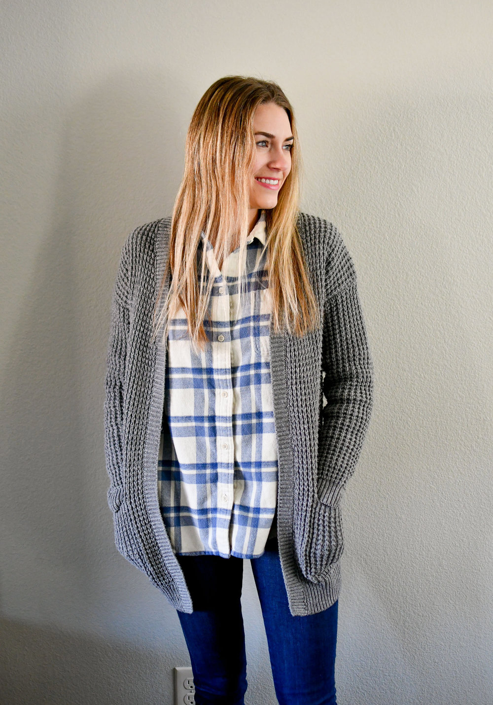 Grey cardigan winter outfit with flannel shirt — Cotton Cashmere Cat Hair