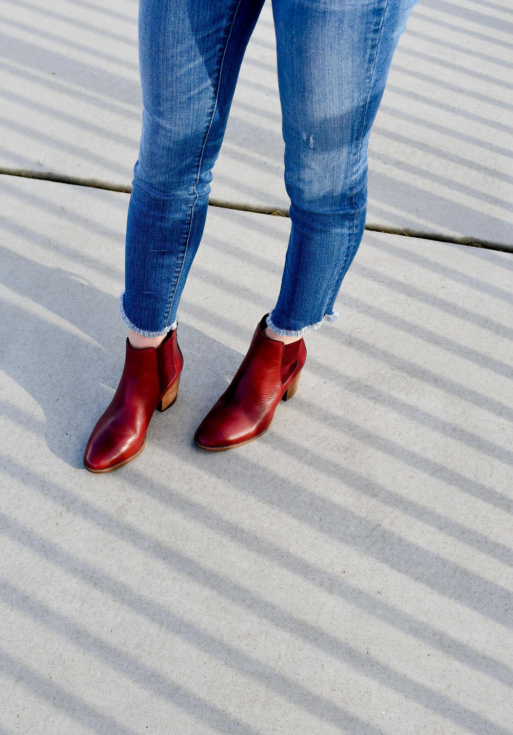 Madewell red Regan ankle boots — Cotton Cashmere Cat Hair