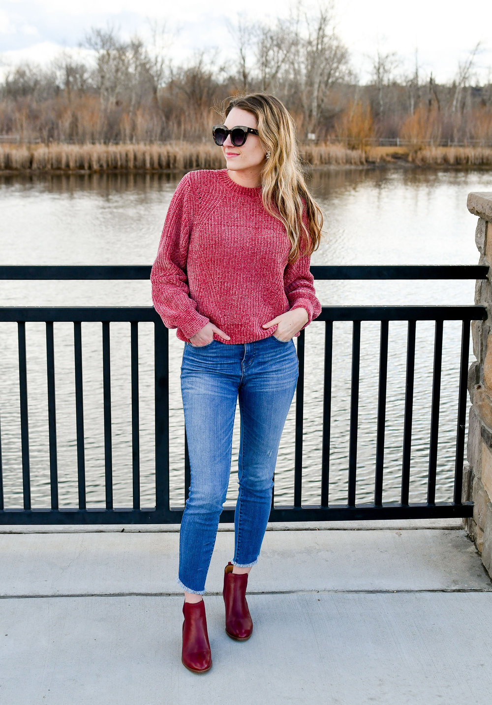 Pink and red casual winter outfit — Cotton Cashmere Cat Hair