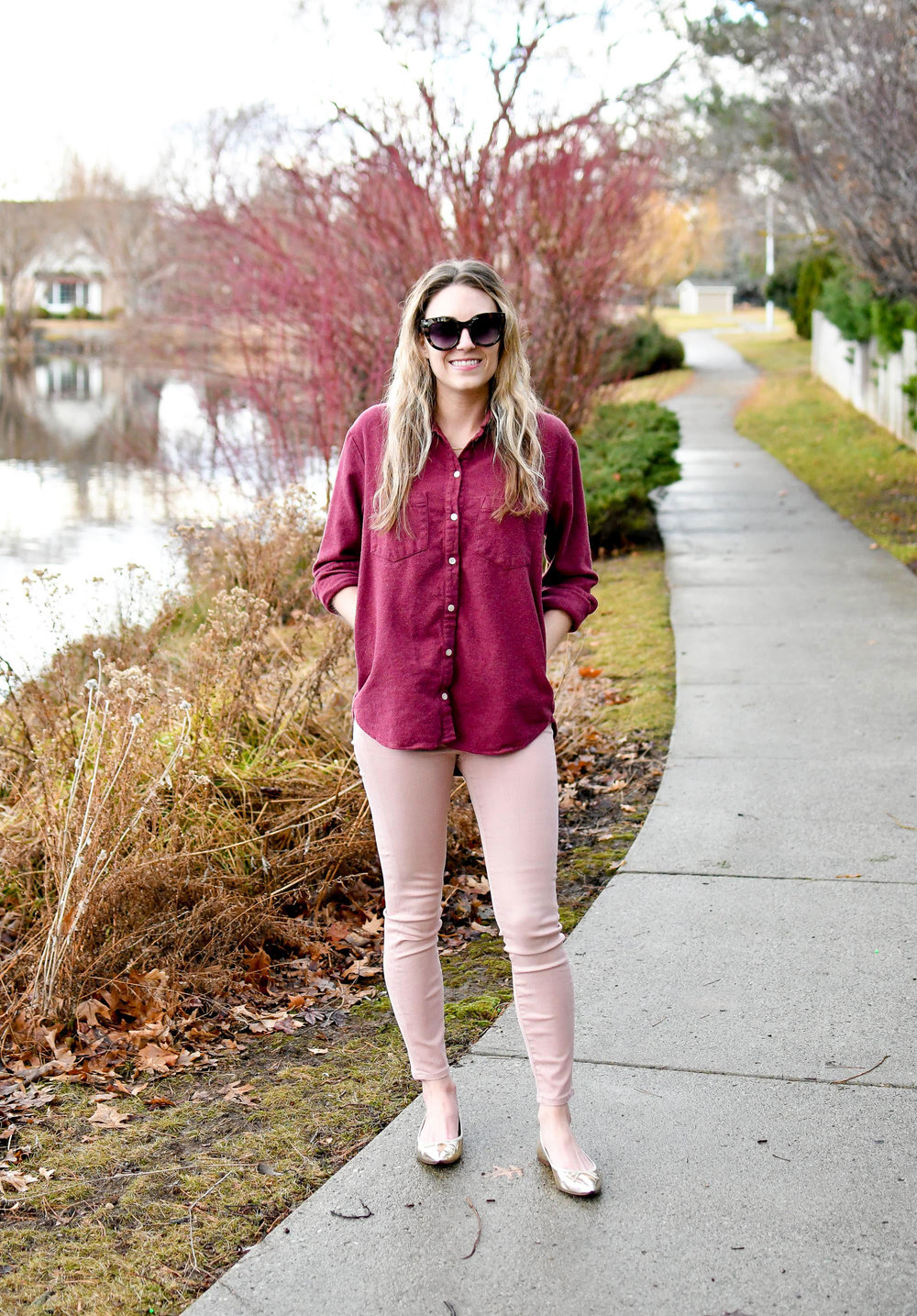 Grana light pink skinny jeans winter outfit — Cotton Cashmere Cat Hair