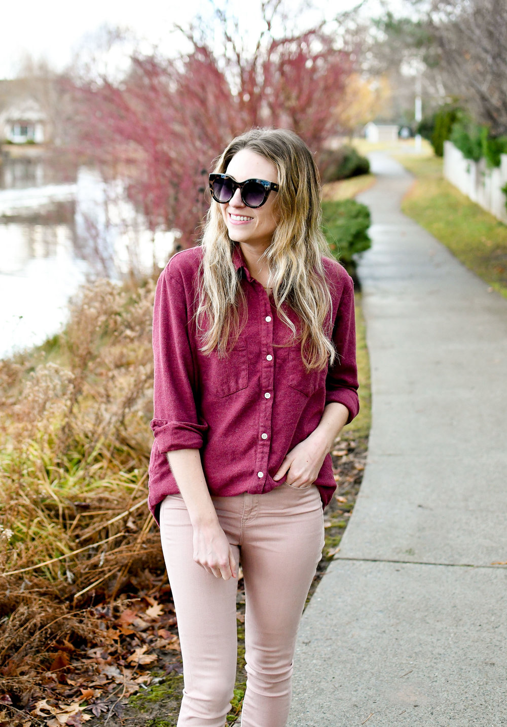 Burgundy flannel shirt and pink jeans / casual Valentine's Day winter outfit — Cotton Cashmere Cat Hair