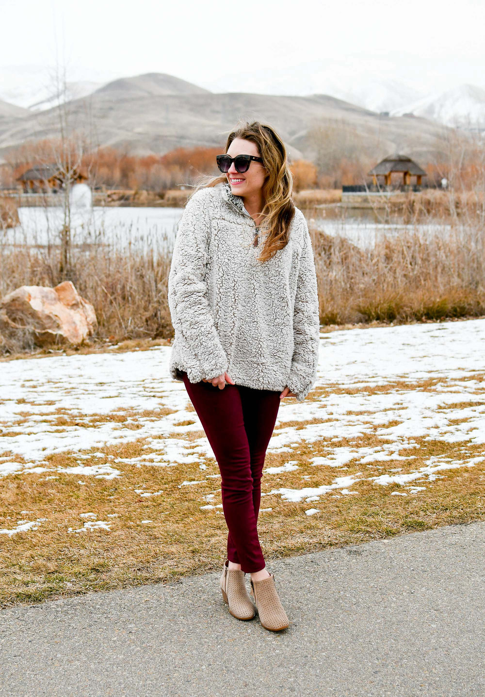 Earth Pineberry ankle boots winter outfit with nubby pullover and burgundy pants — Cotton Cashmere Cat Hair