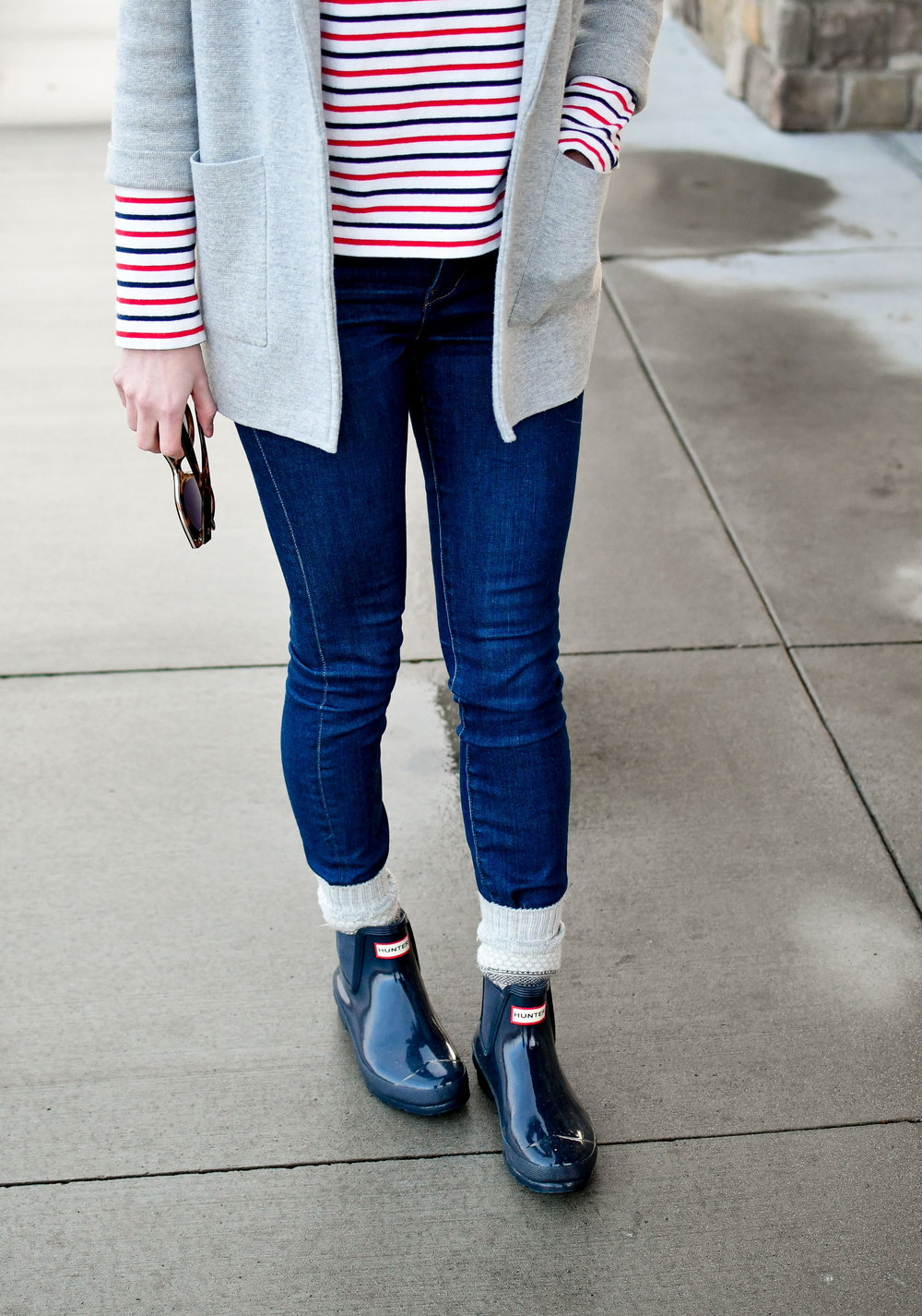 Hunter navy glossy chelsea boots rainy day outfit — Cotton Cashmere Cat Hair