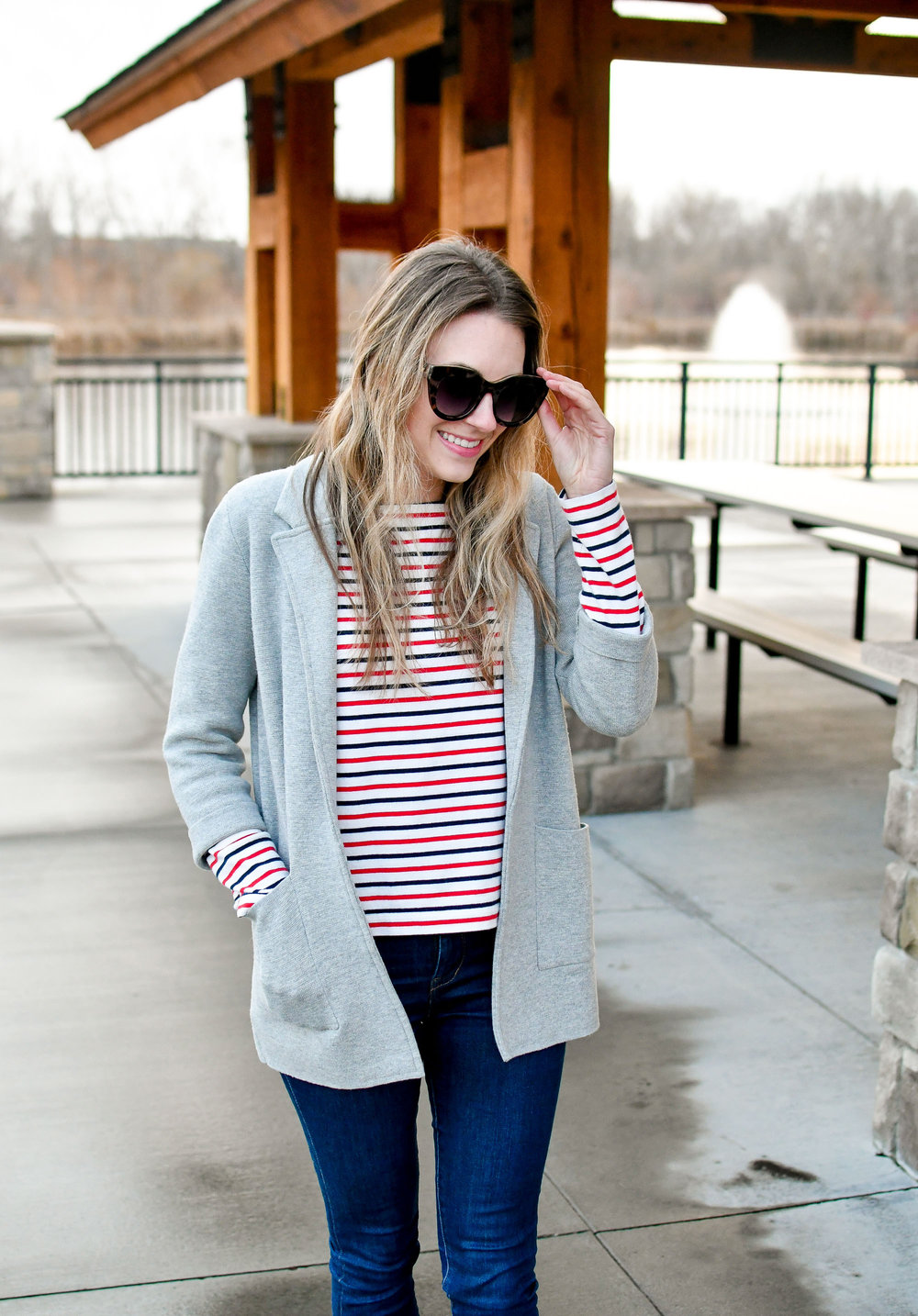 Heather grey sweater blazer winter work outfit — Cotton Cashmere Cat Hair