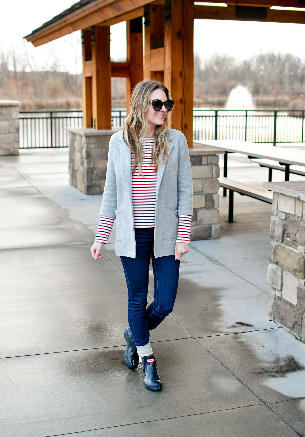 Work outfit with sweater blazer, striped tee, Hunter boots — Cotton Cashmere Cat Hair