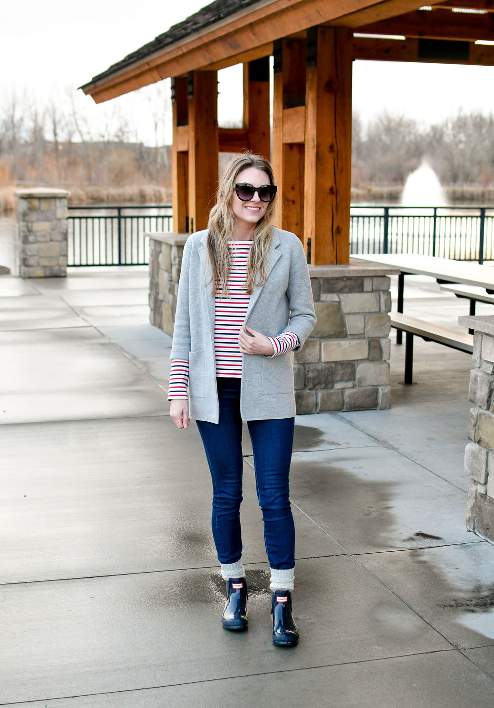 Grey sweater blazer casual work outfit — Cotton Cashmere Cat Hair