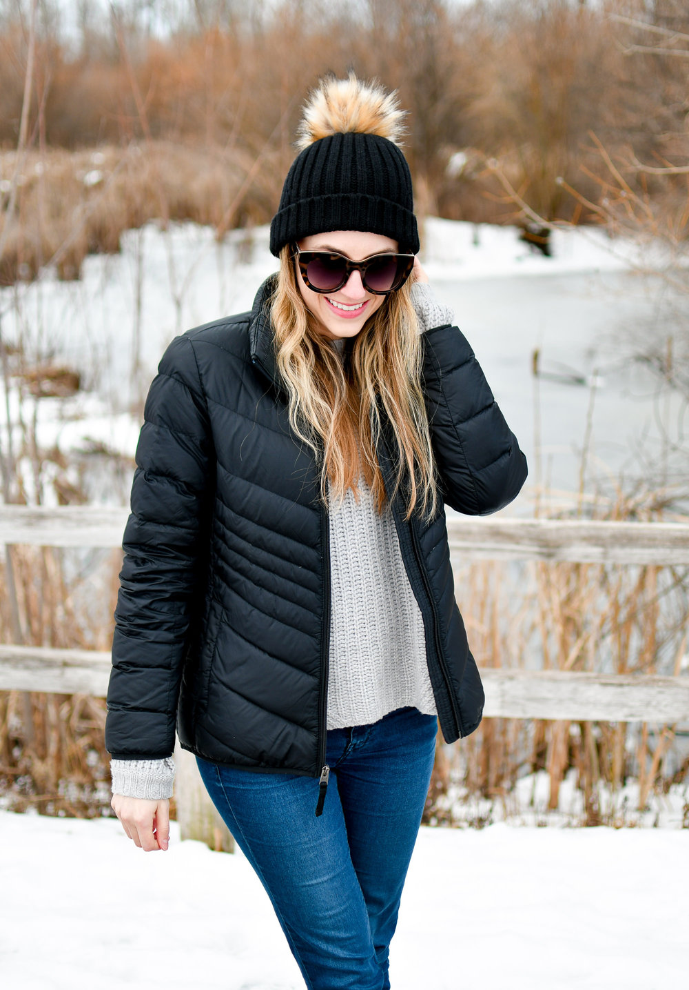 J.Crew black pom-pom beanie and packable puffer coat — Cotton Cashmere Cat Hair