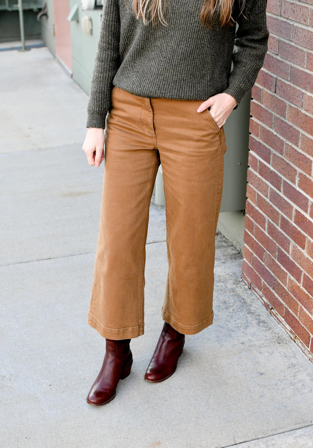 Wide leg crop pants winter outfit with brown tall boots — Cotton Cashmere Cat Hair