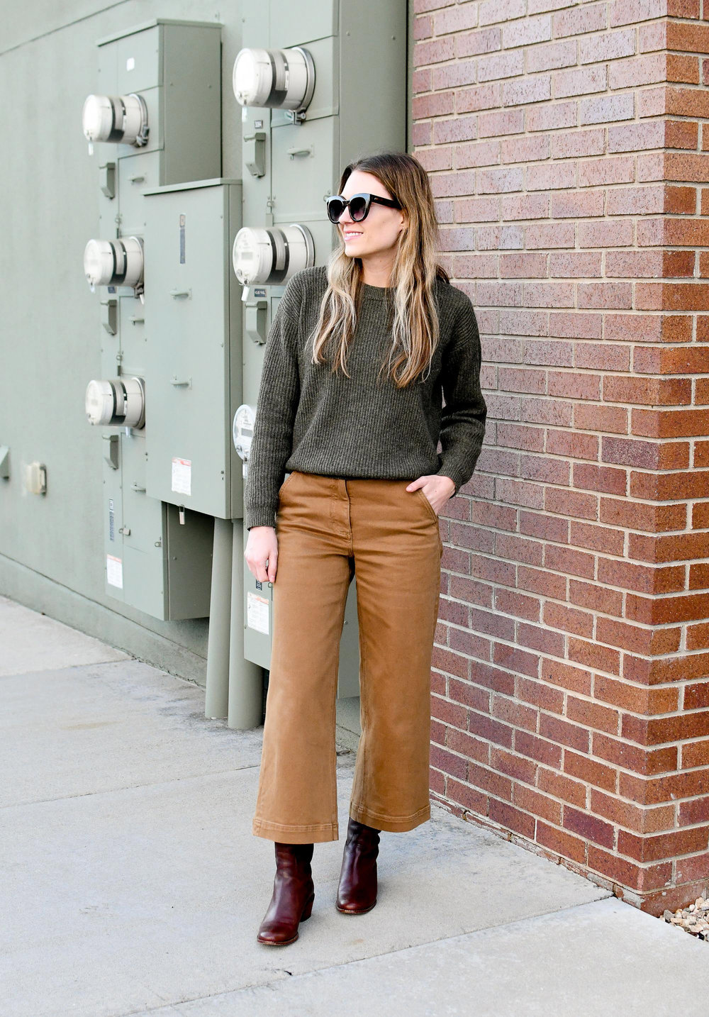 Earth tones winter work outfit — Cotton Cashmere Cat Hair