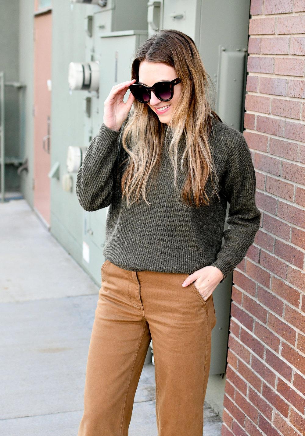 Loden cashmere sweater + ochre wide leg pants winter outfit — Cotton Cashmere Cat Hair