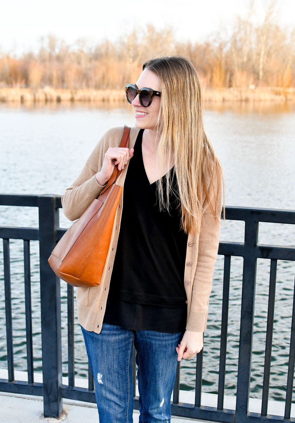 Tan cashmere cardigan, black layered tank top, boyfriend jeans, Transport tote — Cotton Cashmere Cat Hair