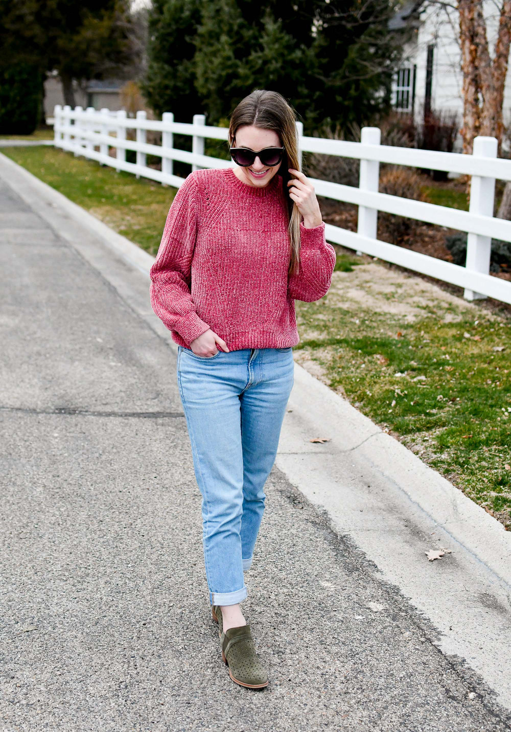 Pink chenille sweater spring outfit with boyfriend jeans and olive green ankle boots — Cotton Cashmere Cat Hair