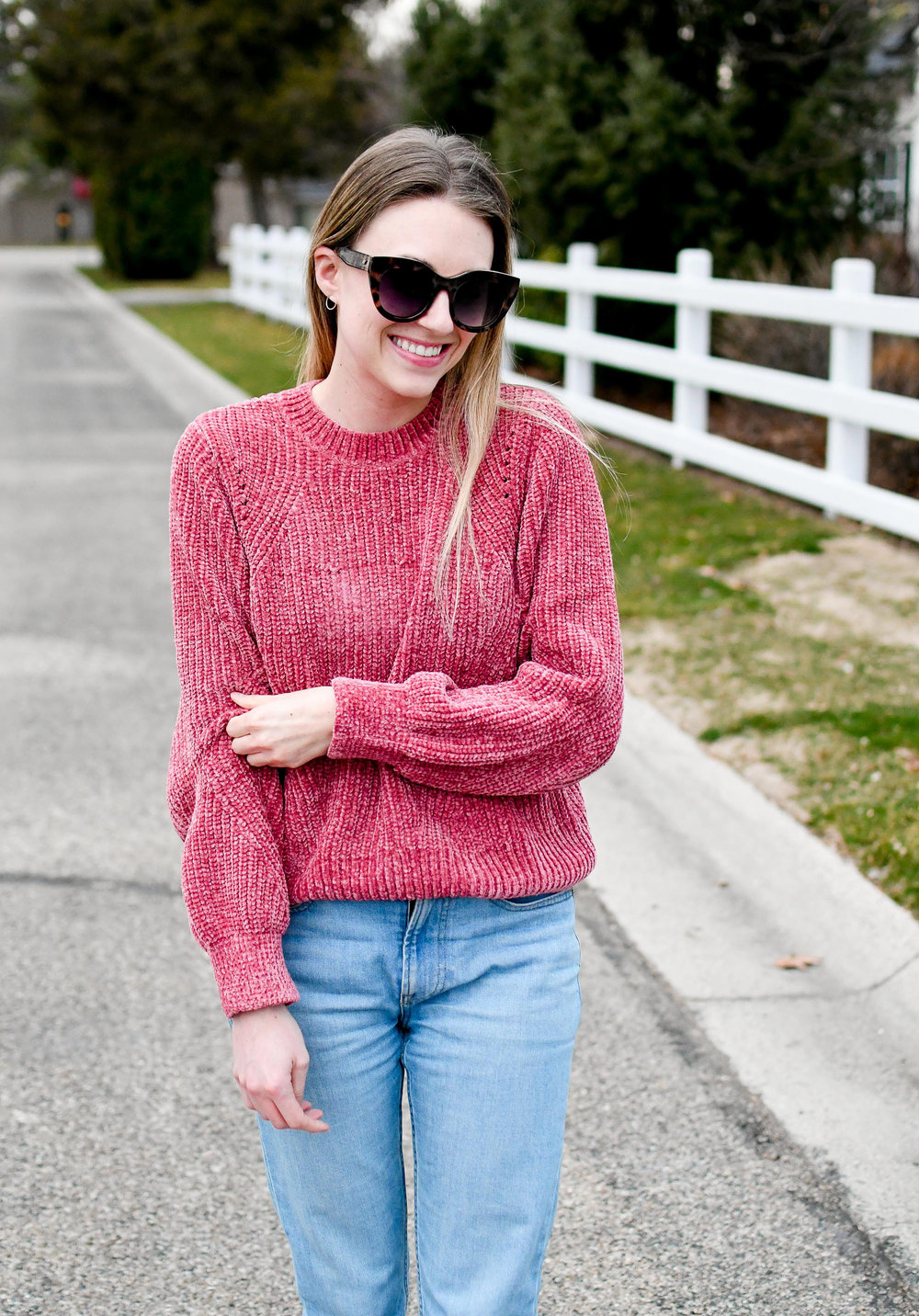 Pink chenille sweater casual spring outfit — Cotton Cashmere Cat Hair