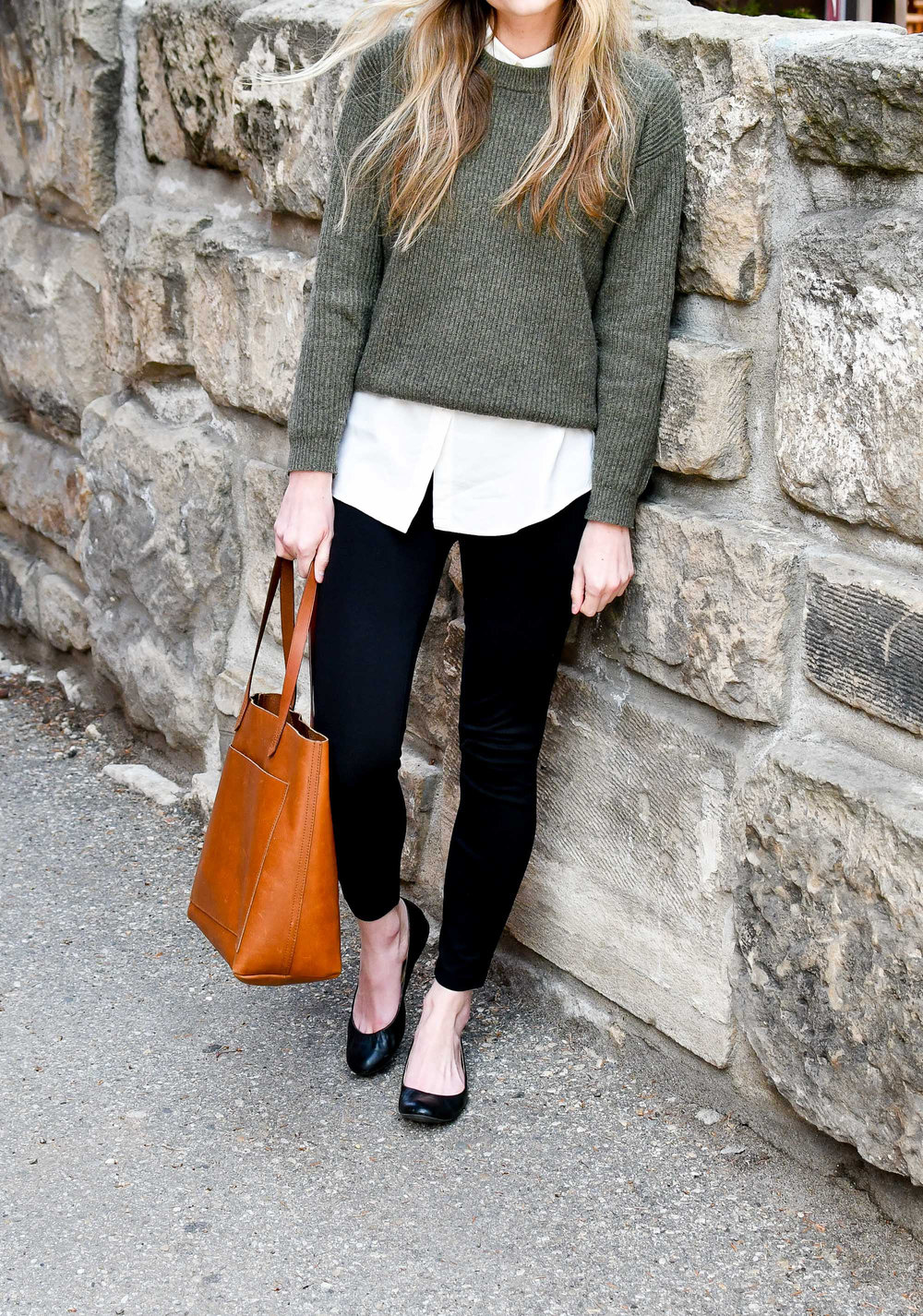 Spring work outfit with green sweater, collared shirt, ponte pants, ballet flats, Transport tote — Cotton Cashmere Cat Hair