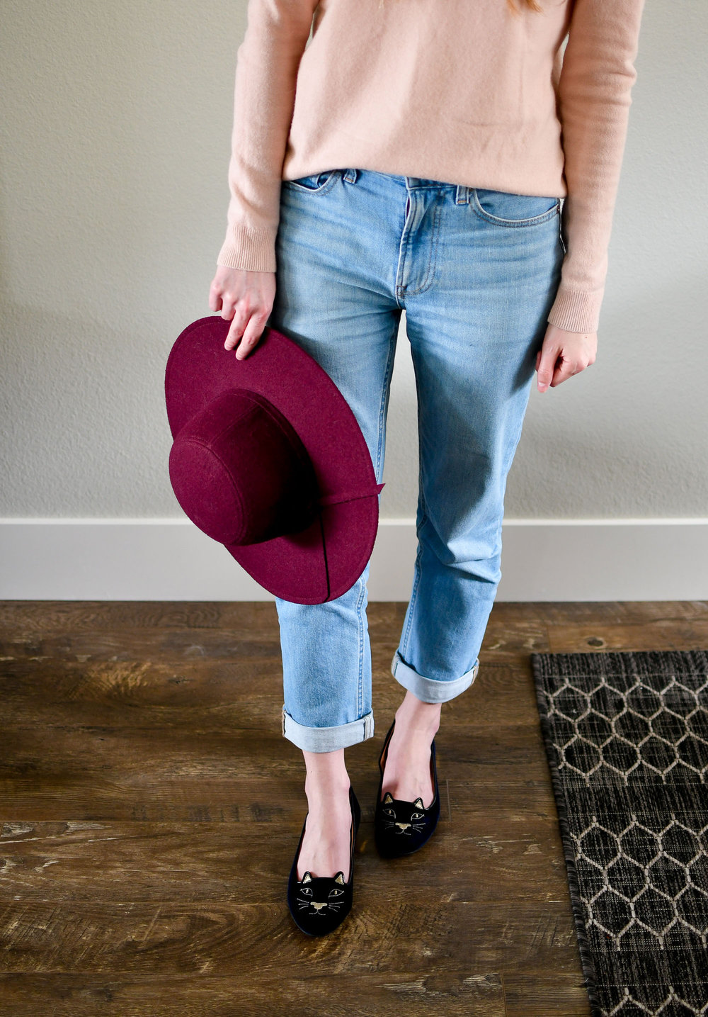 Burgundy hat spring outfit with pink cashmere and Kitty flats — Cotton Cashmere Cat Hair