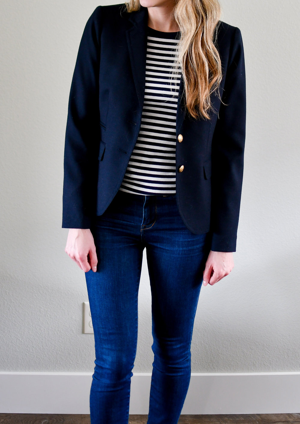 J.Crew Schoolboy blazer work outfit with striped tee — Cotton Cashmere Cat Hair