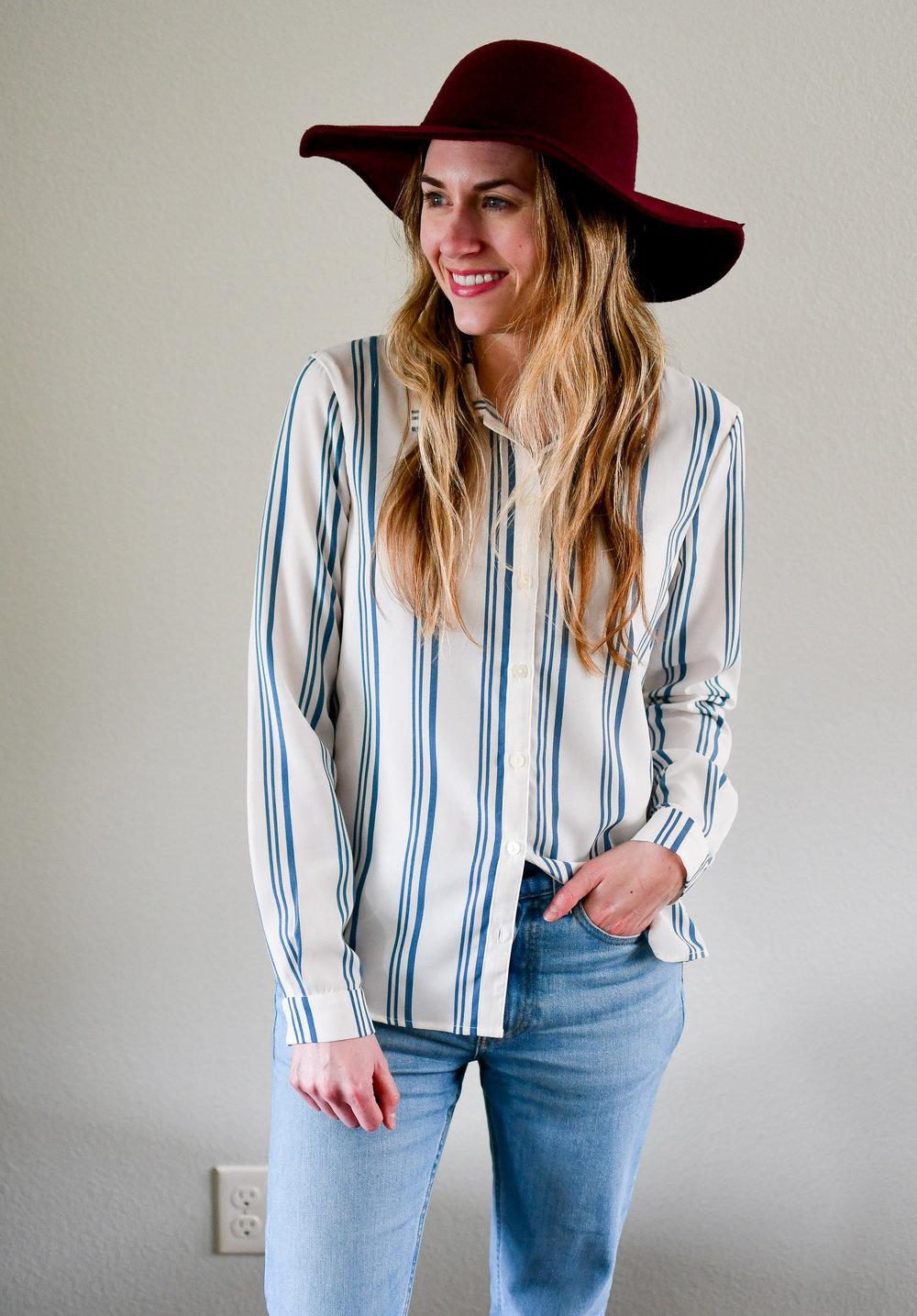 Elizabeth and Clarke The Laurent striped shirt — Cotton Cashmere Cat Hair