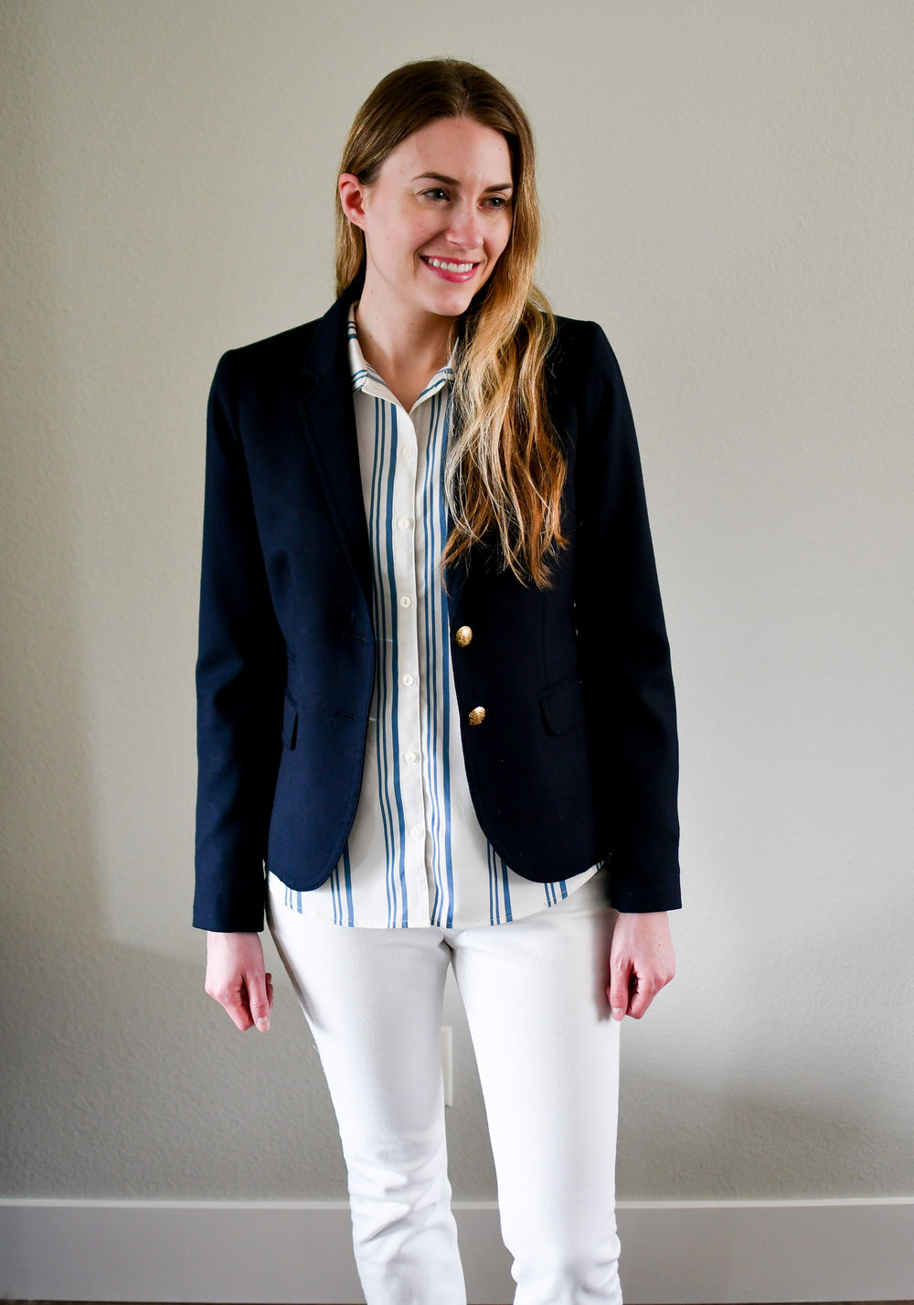 Navy J.Crew Schoolboy blazer spring outfit — Cotton Cashmere Cat Hair