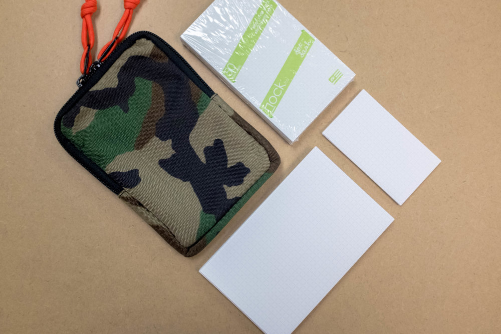 Giveaway Bundle!!! Nock Co. Camo/Raven Sinclair with Custom Safety Orange Zipper Pulls, a pack of Green Dot-Dash Index Cards and 10 each of the new Petite & Gigante Cards.