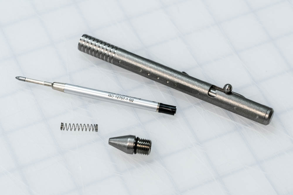 The Schmidt EasyFlow 9000 (Pictured) is a smooth, hybrid refill that offers a great writing experience, but my overall favorite for this pen has to be the Fine Blue Fisher Space Pen Refill. Excellent for daily writing and pressurized to answer the call of duty regardless of conditions.