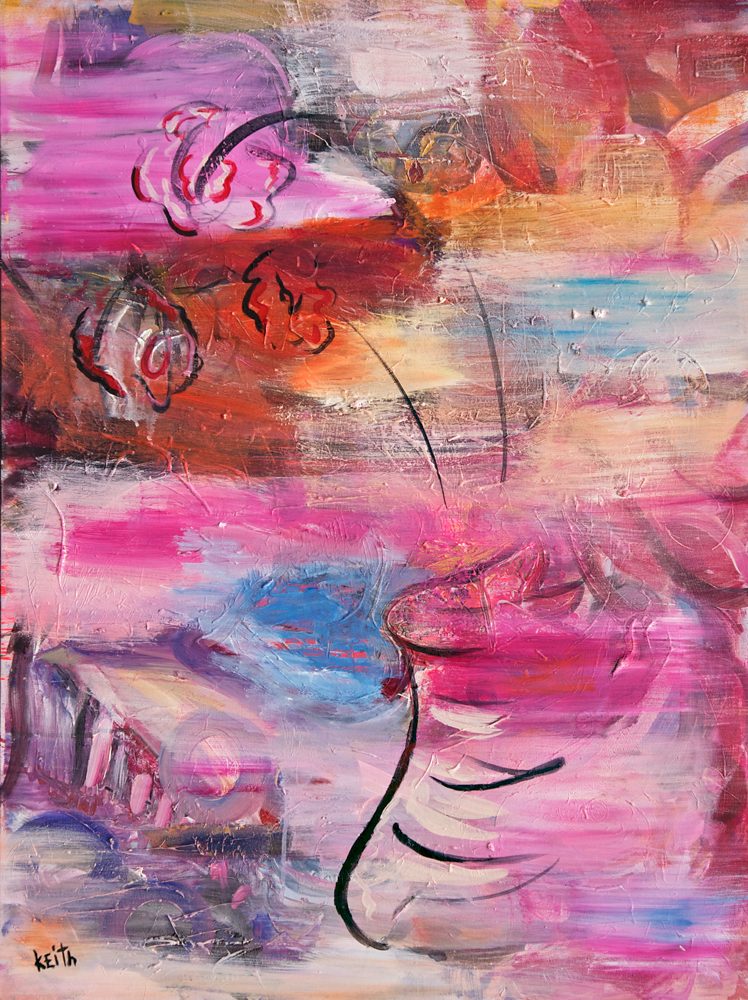 'pink roses'  40 x 30″, acrylic, ink on canvas AVAILABLE