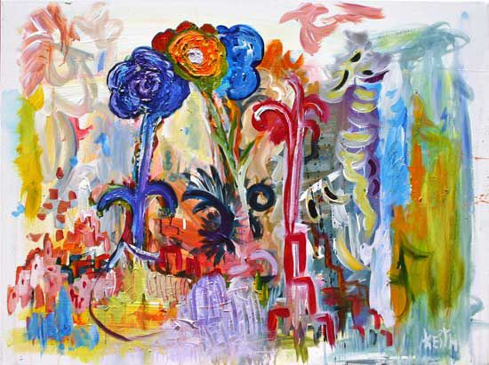 "'flower .9' 30 x 40"", acrylic on canvas   SOLD"