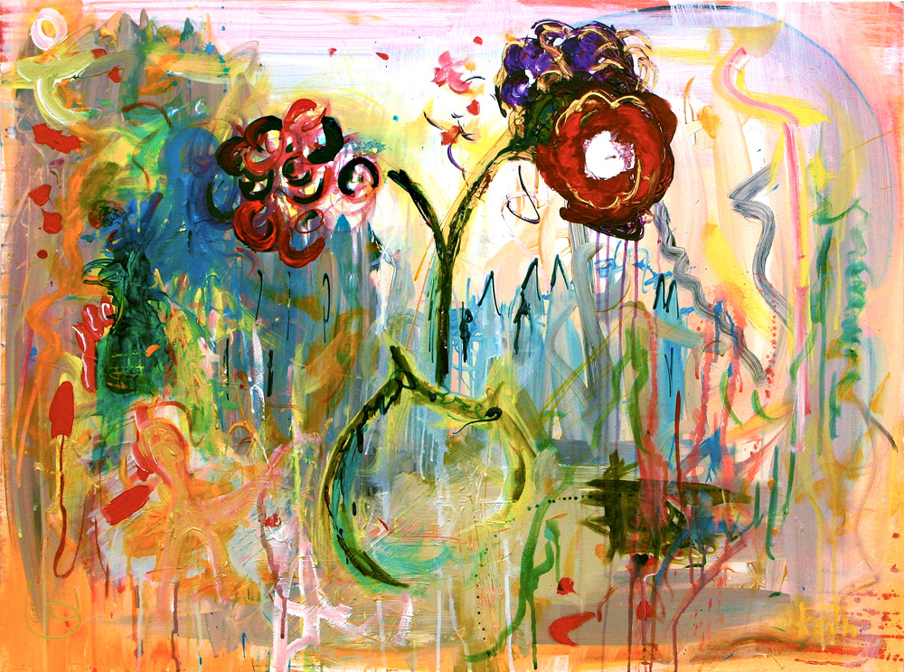 "'boquet golden' 30 x 40"" acrylic on canvas   SOLD"