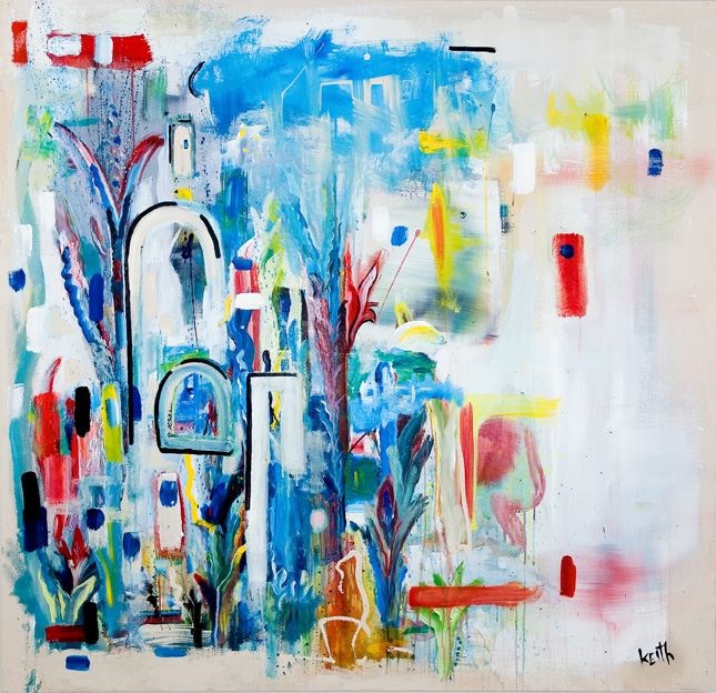 'shepherd in an earthly garden' 56 x 58″, acrylic, acrylic enamel on canvas SOLD
