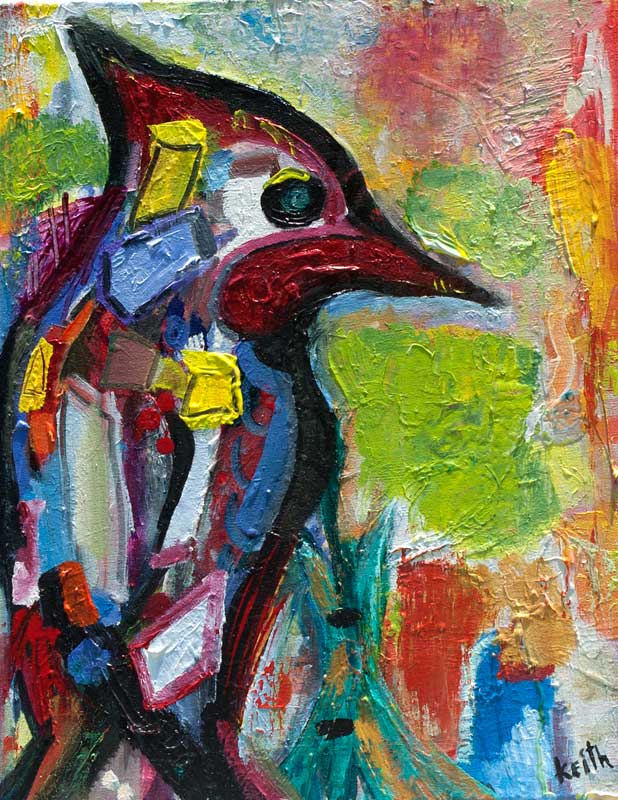 "'woodpecker' 16 x 20"", acrylic on canvas  SOLD"