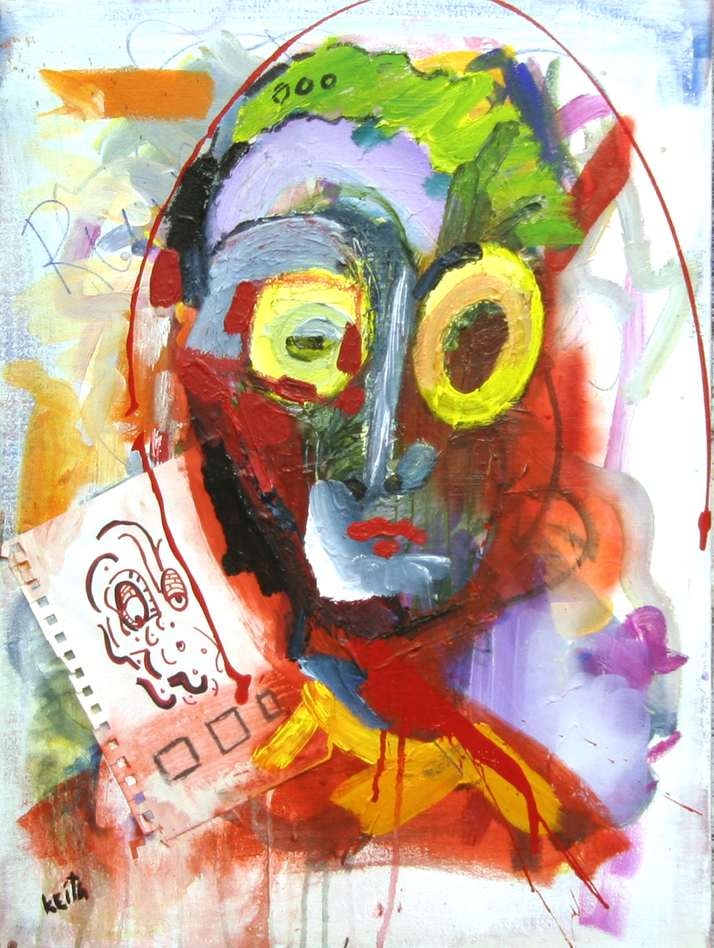 "'portrait .44' 20 x 16"", acrylic, oil, paper on canvas   AVAILABLE"