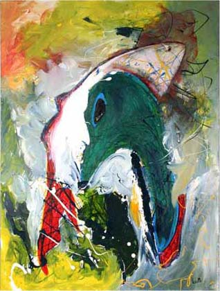 "'goose in fish' 30 x 40"", acrylic, acrylic enamel on canvas SOLD"