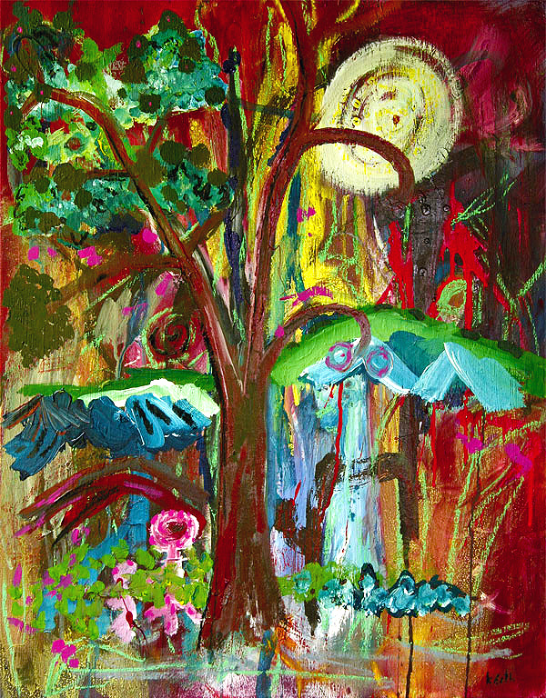 'organic paradise' 24 x 30″, acrylic, oil, pastel on canvas   SOLD