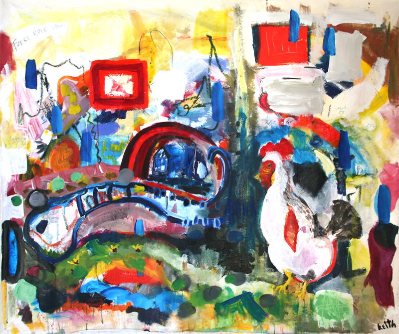 "'chicken' 30 x 60"" acrylic, mixed on canvas   AVAILABLE"
