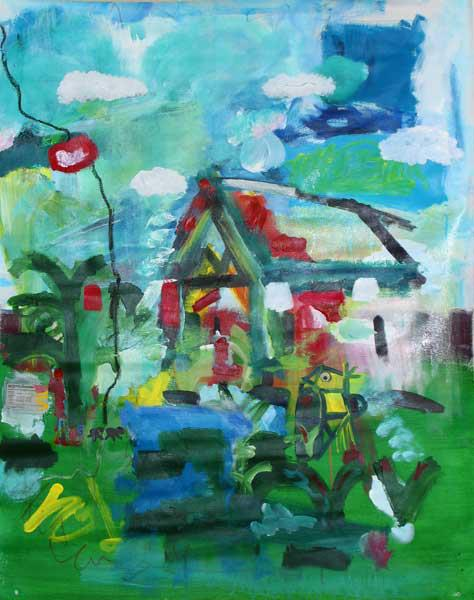"'april's house' 56 x 35"", acrylic, mixed media on canvas   AVAILABLE"