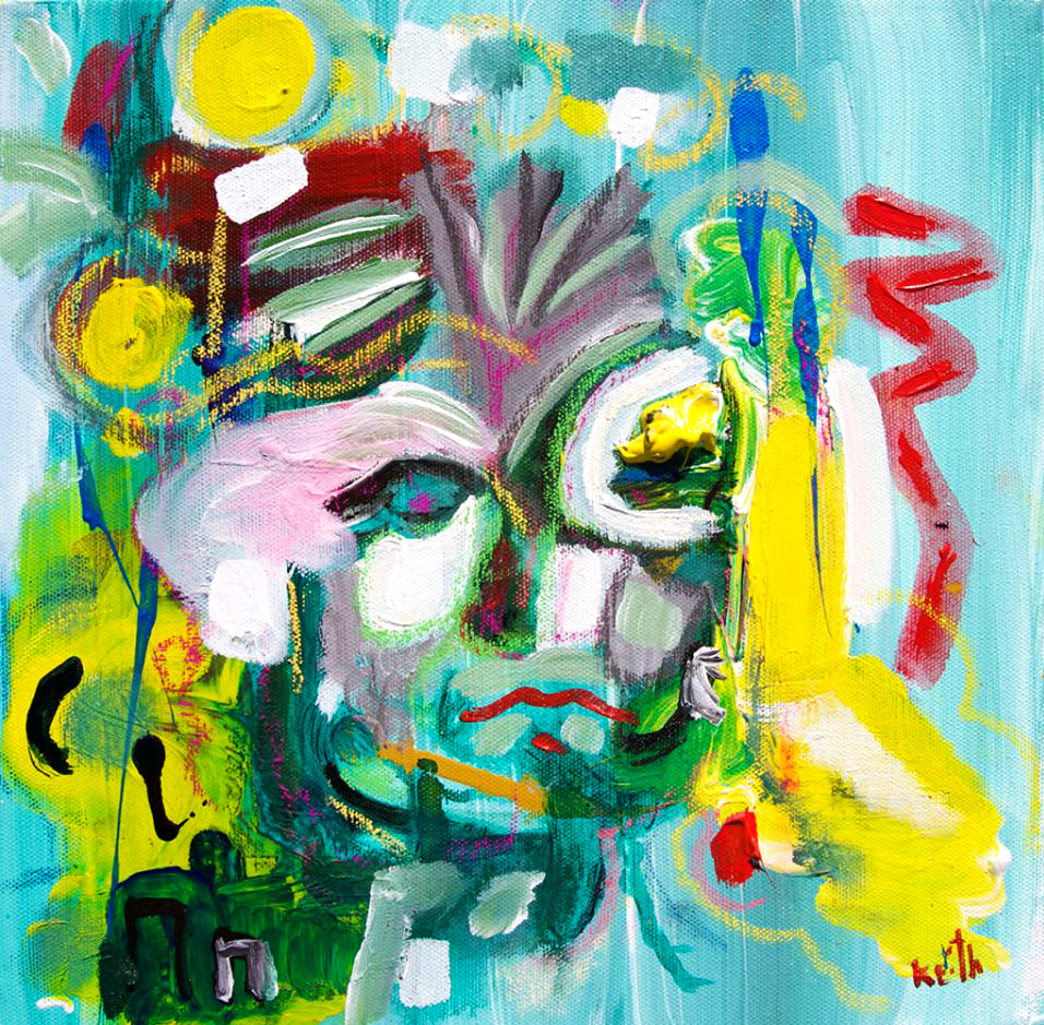 "'blonde' 12 x 12"",   acrylic, auto-paint, pastel, fix on canvas   SOLD"
