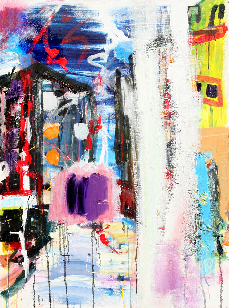 'jazz city persuasion' 48 x 36″, acrylic, acrylic enamel, pastel on canvas   AVAILABLE