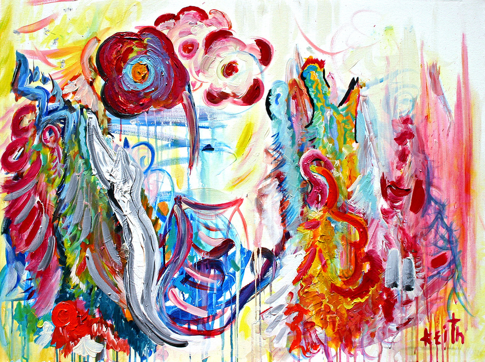 "flower .5 (listen to the rooster) 30 x 40"", acrylic on canvas AVAILABLE"