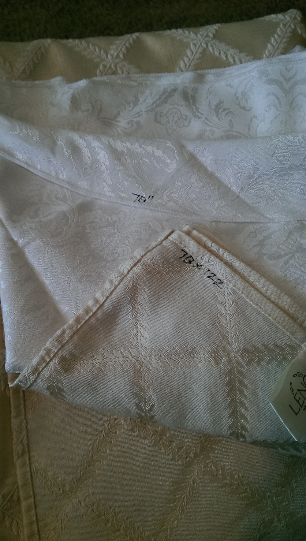 Write the size of the table cloth on the underside with a laundry pin to help keep organized.