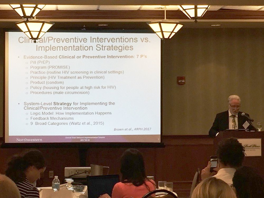 Dr. Hendricks Brown presenting to IRI Fellows the difference between clinical/preventive interventions and implementation strategies. For information on this topic we recommend the recently published Ce-PIM article: CITATION