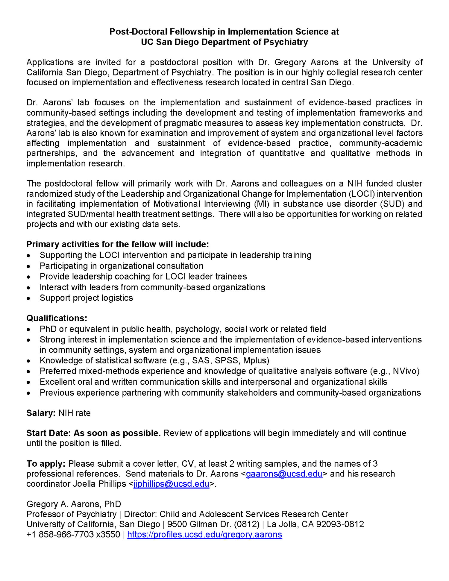 Post-Doctoral fellowship opportunity in Implementation Science with