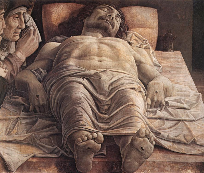 Andrea Mantegna , The Lamentation over the Dead Christ , ca. 1480 (Pinacoteca di Brera, Milan)/ Image from Wikimedia Commons.
