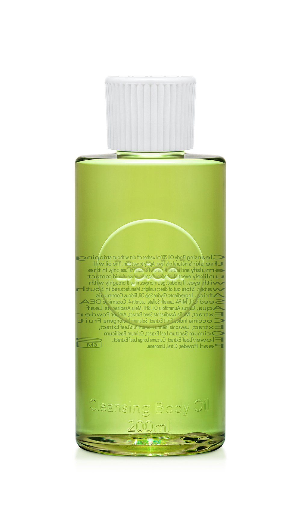 CLEANSING BODY OIL 200ml Washes off dirt without stripping the skin's natural oily layer. Apply to wet skin. The oil will emulsify and lather. Rinse off. Lime essential oil fragrance. Suitable for sensitive skin, non-acnegenic.