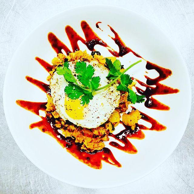 Korean KimChi Fried Rice, Sunny Side Up Egg, Go-Chu-Jang, Cilantro #kimchi #friedrice #koreanfood #chefs #chefsroll #chefsclub #chefslife #chefstatus #chefsoninstagram #gourmet #gourmetfood #thebestoftheday #purplesaigetemptations #lobsterreeflp #foodart #foodporn #foodnetwork #foodandwine #foodstagram #fdlmoment #theartofplating #lakeplacidnewyork @marawayfromhome