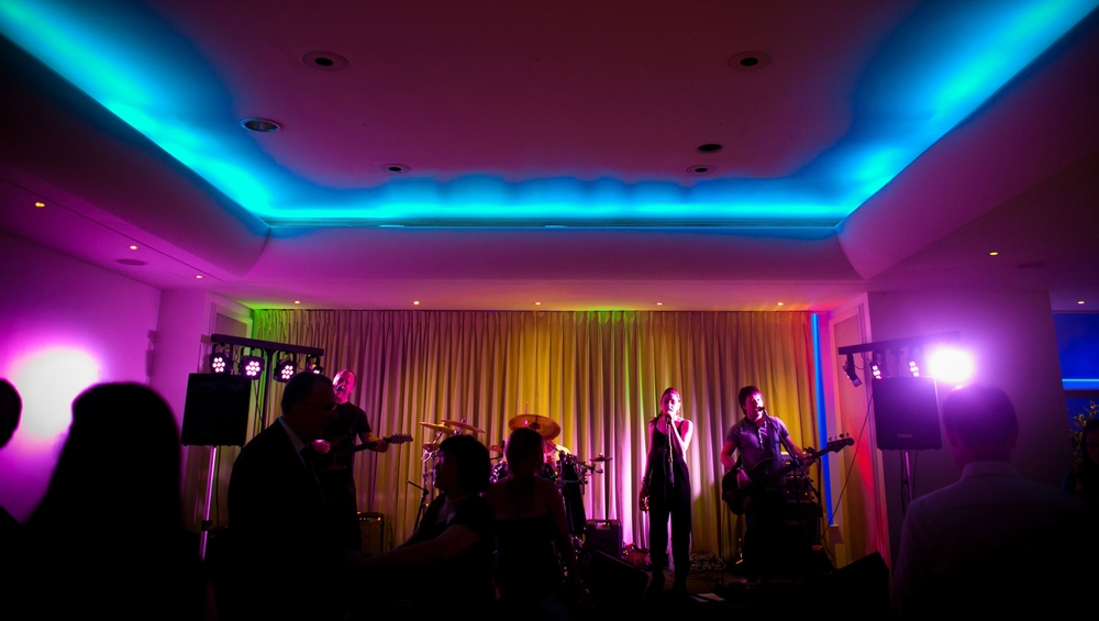 CandyStripes live music set up for a wedding in London.