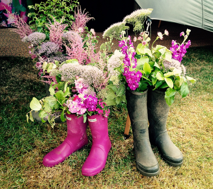 Flowers in Wellies... I love this idea for a wedding party