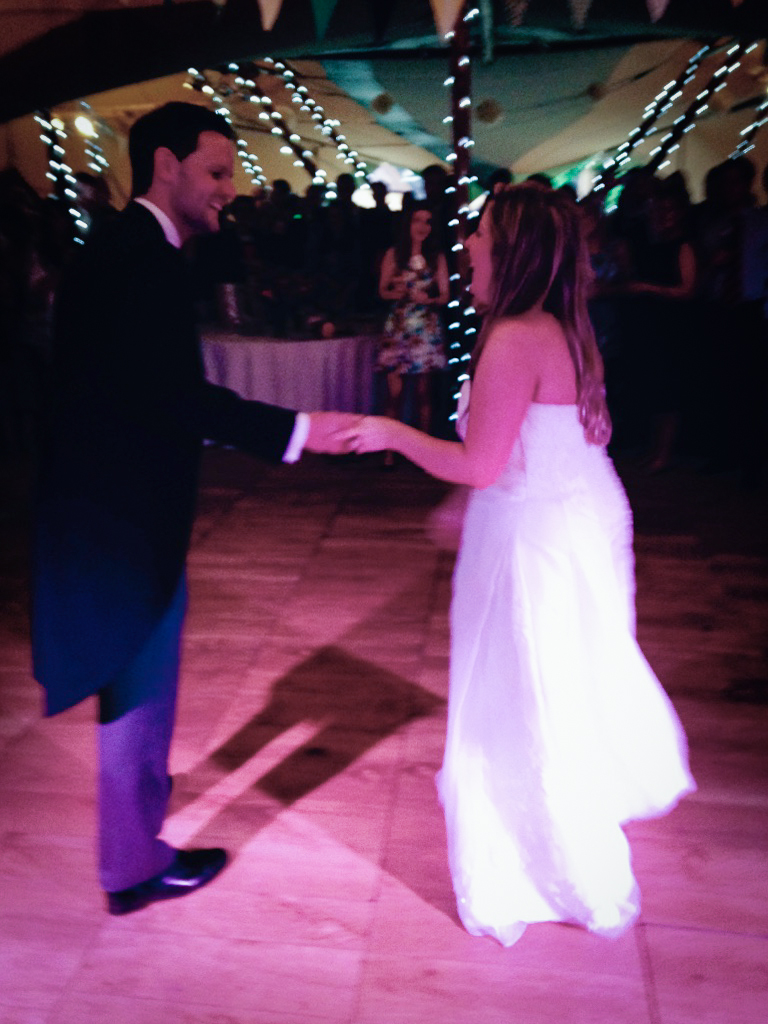 Stuart and Hannah at their wedding in Kent. First dance played live by the band