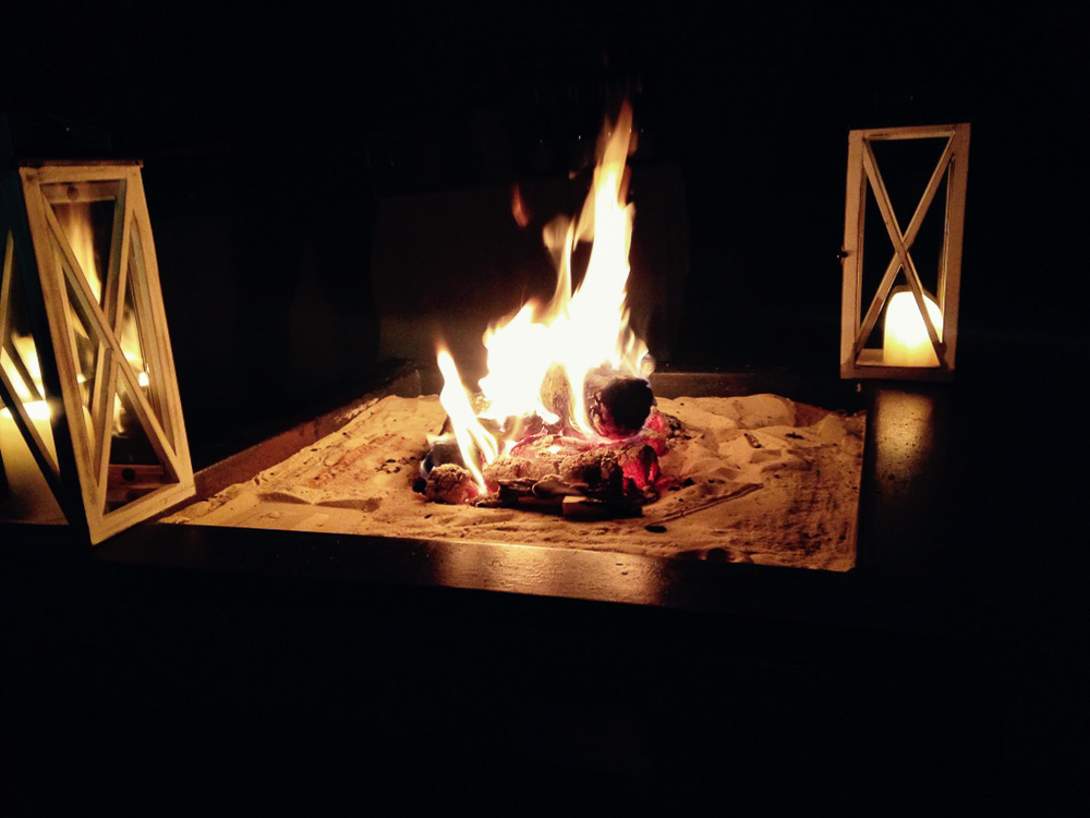And finally, a sweet fire near the bar within the Teepee!