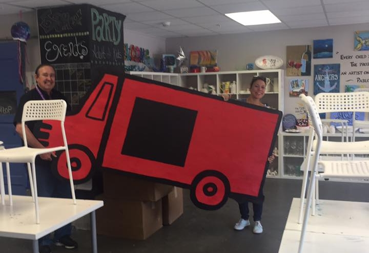 - Ball High School was picking up these cool food truck backdrops for their fundraiser. With the help of Erin Tobberman and the Galveston Kindness Project,they were able to have cute back drops. Love our Ball High School kids.