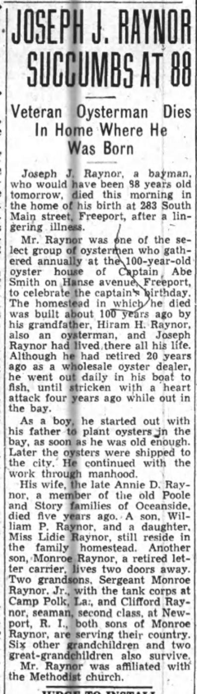 Joseph J. Raynor obituary from January 6, 1944.