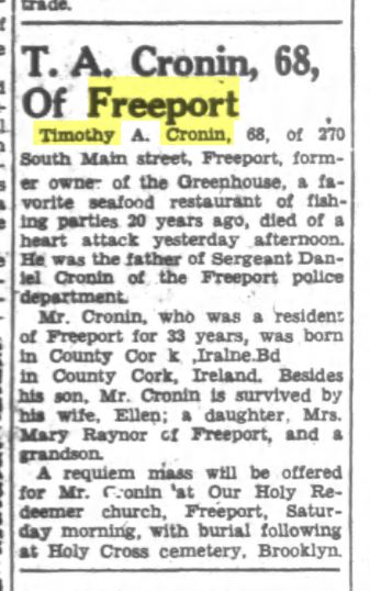 Timothy Ambrose Cronin obituary from the June 17, 1948 Nassau Daily Review Star. Courtesy Old Fulton Postcards.